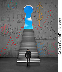 Climbing on stairs with business concept doodles on wall -...