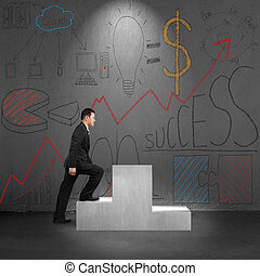 Climbing on podium with business concept doodles on wall -...
