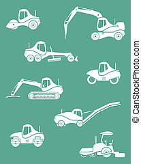 Silhouettes of road machinery Set of icons