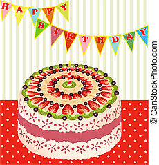 of a birthday cake with kiwi and strawberries - illustration...