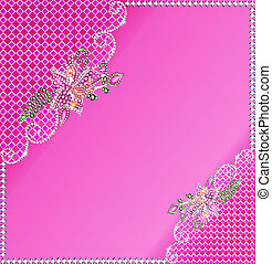 background frame with flowers made ??of precious stones and
