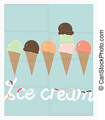 Row of summer ice cream cones - Poster design with a row of...