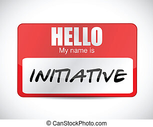 initiative name tag illustration design over a white...