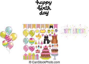 Happy Birthday party elements set
