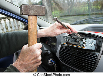 Car radio removal, replacement - amateur at work with hammer...