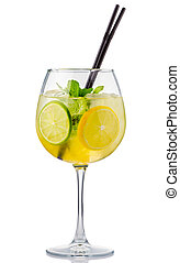 Alcohol cocktail with fresh mint and fruits isolated on...