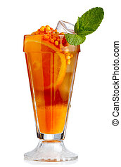 Fresh nonalcoholic cocktail with orange fruits and sea-buckthorn isolated