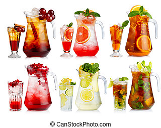 Set of nonalcoholic cocktail in jugs and glasses with fruits...