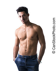 Athletic shirtless young man in jeans, with moustache -...