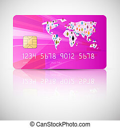 Pink Vector Credit Card Illustration Isolated on Grey Background