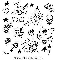 set of old school tattoos elements - set of old school...