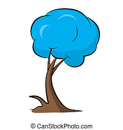 Abstract Vector Blue Tree Illustration
