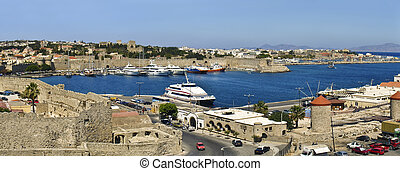 Port and Castle, Rhodes, Greece - Port and Castle of Rhodes,...