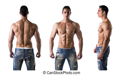 Triple view of shirtless bodybuilder: back, front, side -...