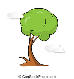 Abstract Vector Paper Green Tree with Clouds