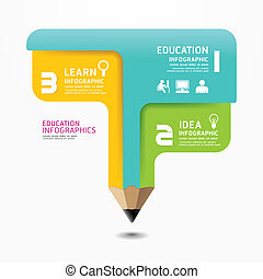 Pencil Infographic Design Minimal style template can be used...