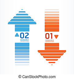 arrows line orange and blue color can be used for...