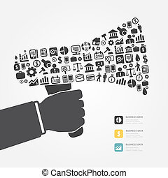 Elements are small icons Finance make in megaphone concept .