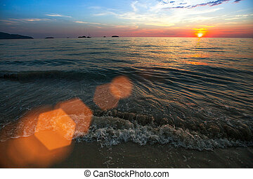 Sunset over ocean, nature composition.