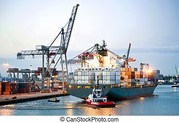 Manouvering container ship - Ah huge container ship being...