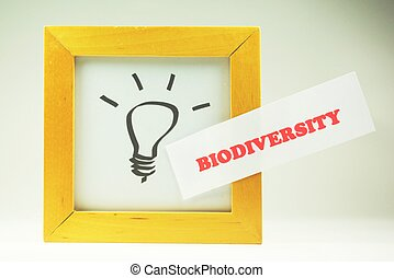 Biodiversity - Image of the idea symbol, light bulb, with...