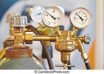 soldadura, acetileno, gas, Cilindro, tanque, calibrador