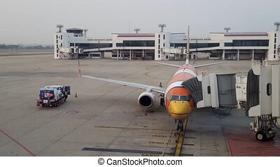 Nok Air plane at Don Muang - BANGKOK,THAILAND - MARCH 2,...