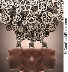 Thinking Machine - Several gears machine coming out of the...