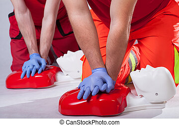 First aid course on white isolated background