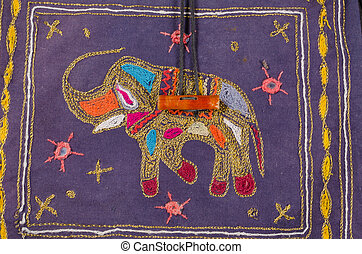 Embroidered elephant - Handcrafted fabric with an...