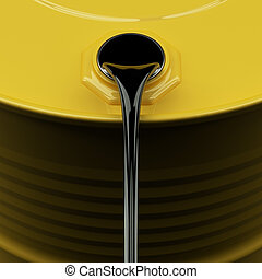 Pouring Oil - Pouring oil from yellow drum