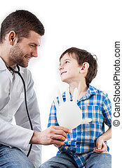 Doctor giving a balloon to a kid