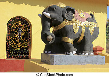 Elephant Statue at Temple - Statue of decorated elephant at...