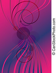 Curved purple lines and spirals on