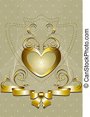 Gold heart with golden decor and bo