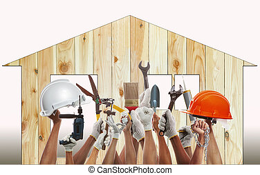 home and hand rising diy tool equipment against wood house...