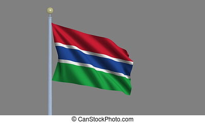 Flag of Gambia with alpha matte - Flag of Gambia waving in...