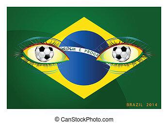 football brazil 2014 flag eye