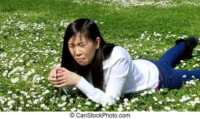 Asian woman with allergy in spring - Young asian woman...