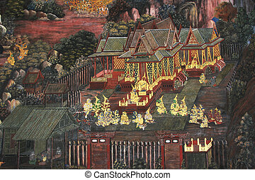 The painting is about Ramayana, Wat Phra keaw in Bangkok...