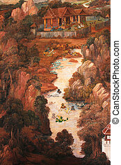 Painting Ramayana,Wat phar Keaw - The painting is about...