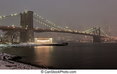 Manhattan Skyline, Snowstorm - Manhattan Skyline and the...
