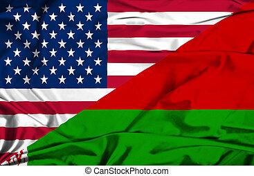 Waving flag of Belarus and USA