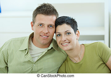 Love couple cuddling - Happy young love couple cuddling at...