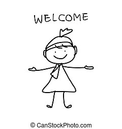 hand drawing cartoon concept happy business woman - hand...