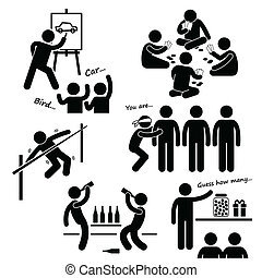 Party Recreational Games Clipart - A set of human pictogram...