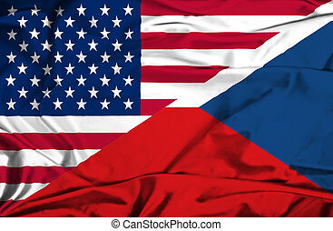 Waving flag of Czech Republic and USA