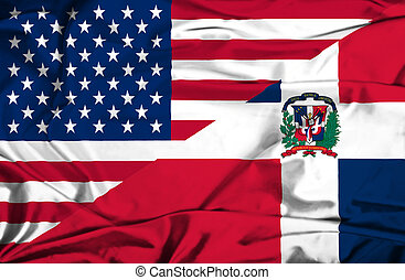 Waving flag of Dominican Republic and USA