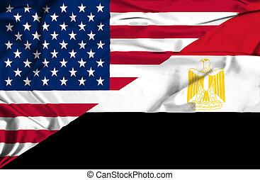 Waving flag of Egypt and USA