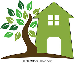 House and tree logo - Green house tree vector logo